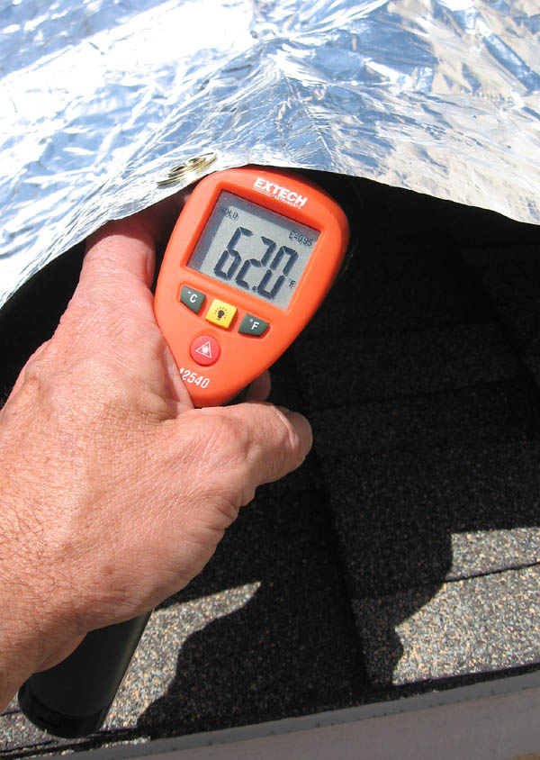 CoolTarp reduces 135 degree roof temp to only 62 degrees F