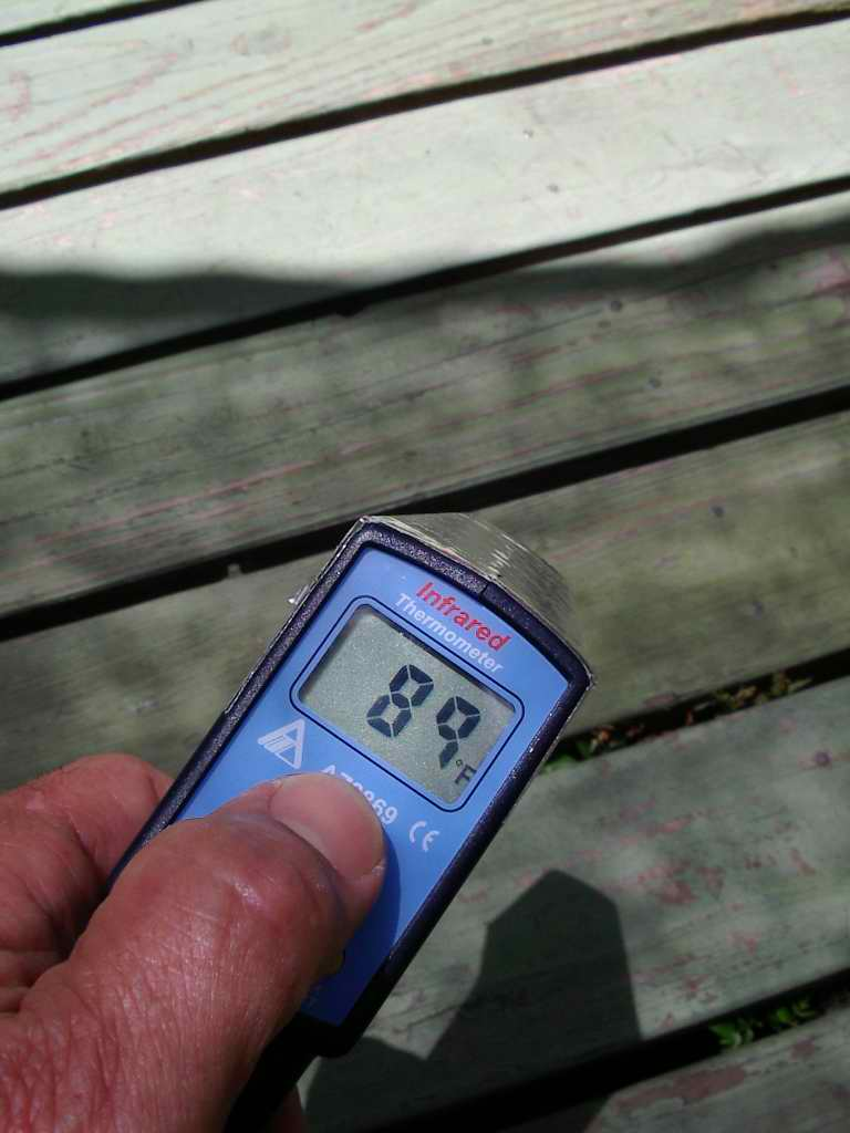 151 surface temp exposed to sun